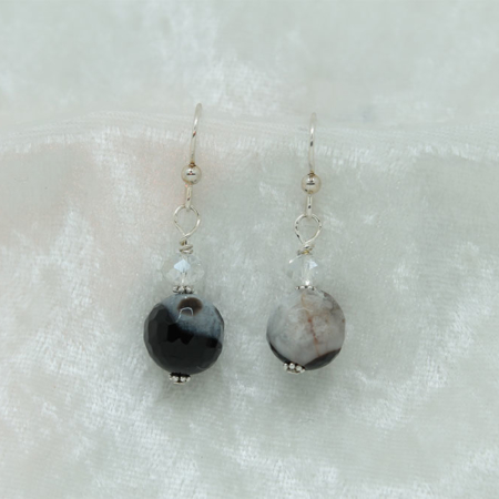 Black Lined  Agate Earrings #3155