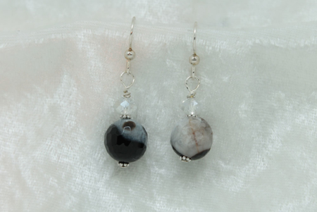Black Lined  Agate Earrings #3155 zoom