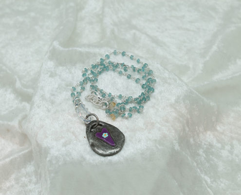 Blue Chalcedony Heart Necklace #3164 Front