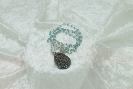 Blue Chalcedony Heart Necklace #3164 Back