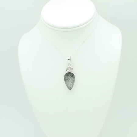 Black Rutilated Quartz Pear Shaped Necklace #3292