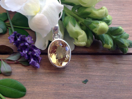 Citrine Round Pendant Necklace #3294