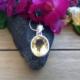 Citrine Round Pendant Necklace #3294