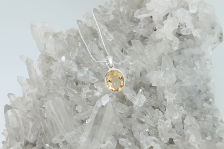Citrine Round Pendant Necklace #3294 zoom