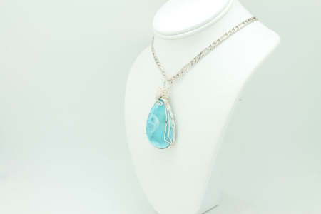 Larimar Wrapped Pendant Necklace #3297 Left-side View