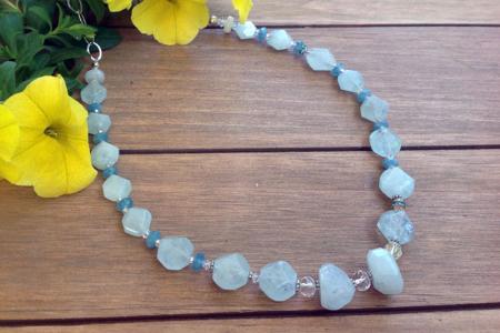 Aquamarine, Moonstone Necklace