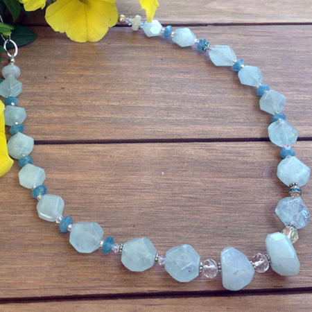Aquamarine, Moonstone Necklace
