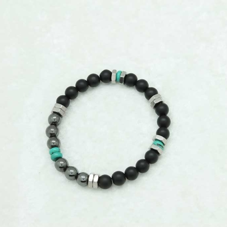 Protection Bracelet - Black Tourmaline, Hematite and Turquoise #3345