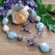 Aquamarine-Labradorite-Pearl Bracelet
