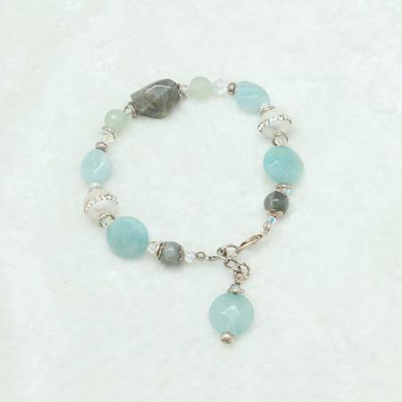 Aquamarine-Labradorite-Pearl Bracelet #874