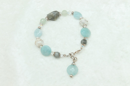 Aquamarine-Labradorite-Pearl Bracelet #874 zoom
