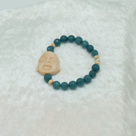 Blue Apatite Throat Chakra Buddha Bracelet #3119
