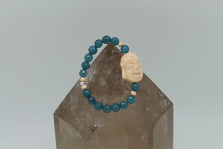 Blue Apatite Throat Chakra Buddha Bracelet #3119 zoom