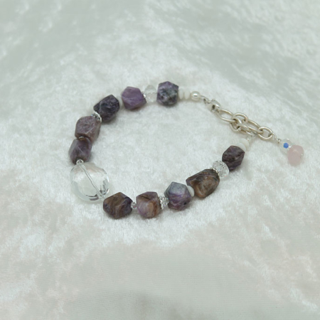 White Coral Charoite Quartz Crystal Bracelet #3121