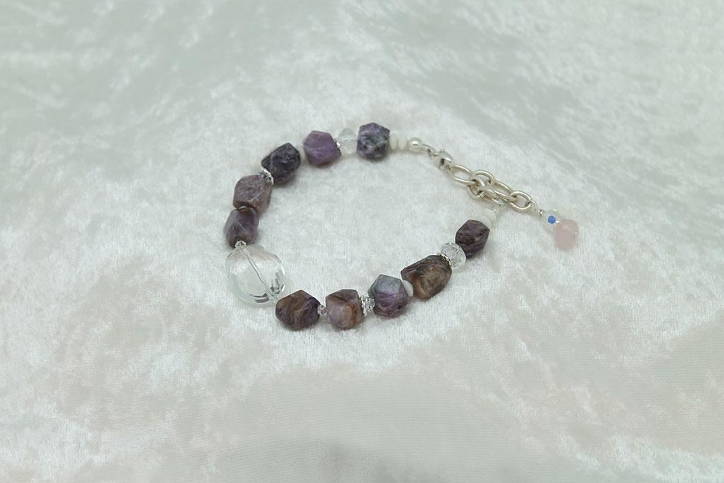 White Coral Charoite Quartz Crystal Bracelet #3121 - Sun Spirit Gems