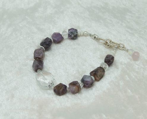 White Coral Charoite Quartz Crystal Bracelet #3121 zoom