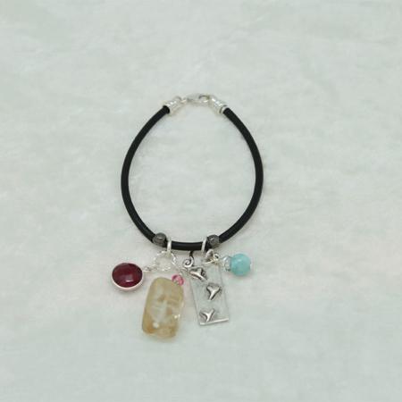 Garnet, Citrine, Larimar, Heart Charm Bracelet #3128