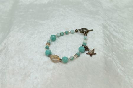 Amazonite, Rutilated Quartz, Star Charm, Bracelet #3129