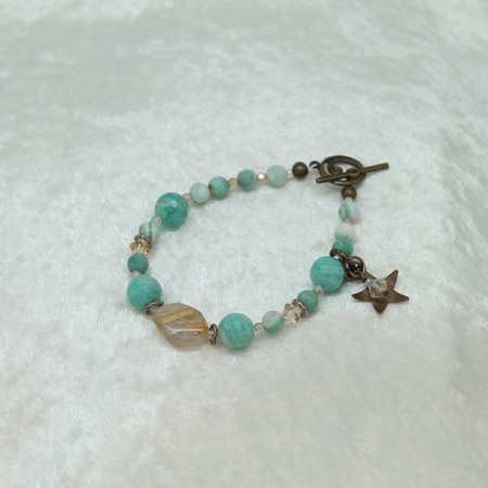 Amazonite, Rutilated Quartz, Star Charm, Bracelet #3129