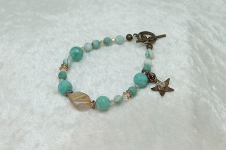 Amazonite, Rutilated Quartz, Star Charm, Bracelet #3129 zoom