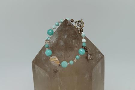 Jasper, Amazonite, Howlite, Yellow Calcite Bracelet #3130 zoom 2