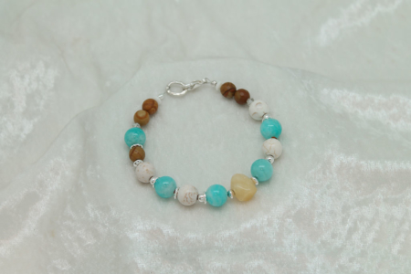 Jasper, Amazonite, Howlite, Yellow Calcite Bracelet #3130