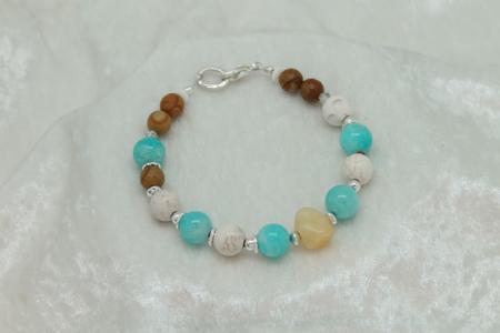 Jasper, Amazonite, Howlite, Yellow Calcite Bracelet #3130 zoom