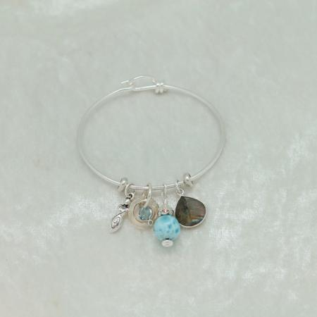Silver Cuff Family Goddess Charm Bracelet #3132