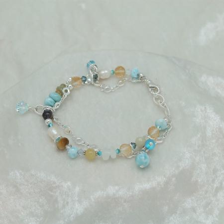 Larimar Citrine Green Opal Bracelet #3136