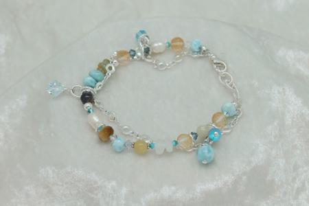 Larimar Citrine Green Opal Bracelet #3136 zoom 1