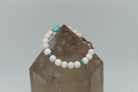 Men's Howlite Turquoise Bracelet #3142 zoom