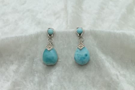 Larimar Large Tear Drop Earrings #3151-2