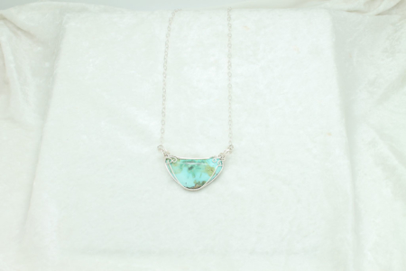 Tonopah Turquoise Silver Wrapped Pendant Necklace #3304