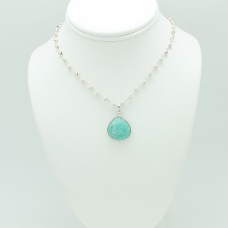 Amazonite Silver Necklace #3305