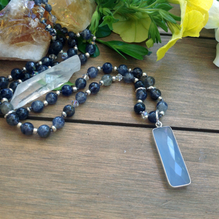 Chalcedony Pendant Lolite Beaded Necklace #3306