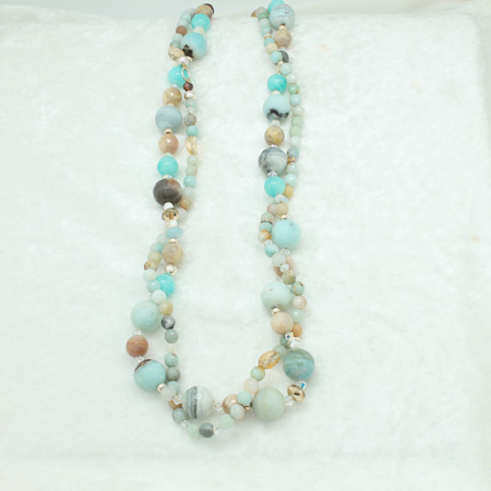 Double Amazonite Necklace with Citrine #3307