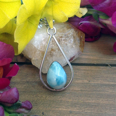 Larimar Teardrop Necklace