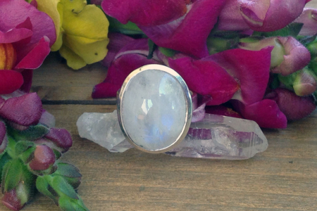 Moonstone Oval Sterling Silver Ring