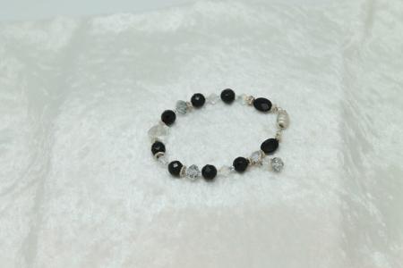Black Onyx Quartz Crystal Protection Bracelet #3137