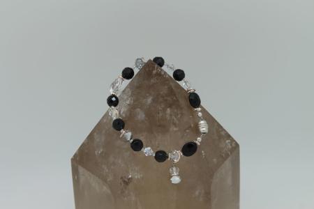 Black Onyx Quartz Crystal Protection Bracelet #3137 zoom
