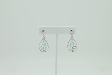 Filigree Sterling Silver Faceted Blue Topaz Earrings #3251