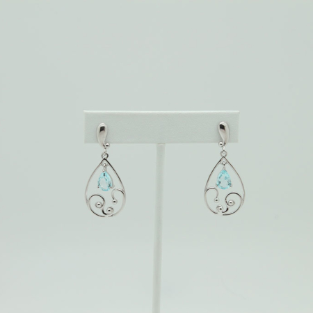 Filigree Sterling Silver Faceted Blue Topaz Earrings #3251