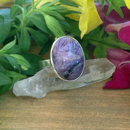 Oval Charoite Sterling Silver Ring
