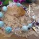 Larimar Fluorite Quartz Charm Bracelet #3322