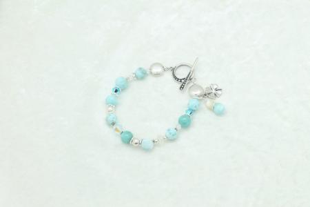 Larimar Moonstone Silver Charm Bracelet #3324