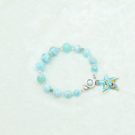 Larimar Glass Star Fish Charm #3325