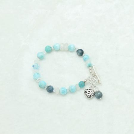 Larimar Kyanite Moonstone Bracelet #3327