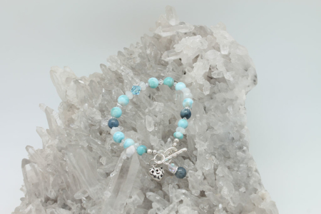 Larimar Kyanite Moonstone Bracelet #3327 setting