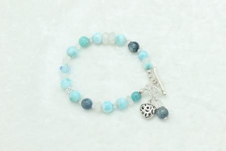 Larimar Kyanite Moonstone Bracelet #3327 zoom