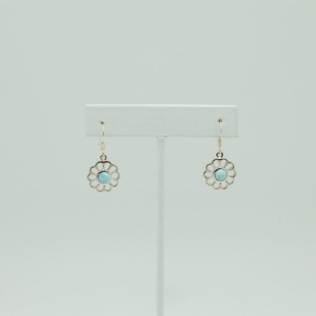 Larimar Daisy Flower Earrings #3406